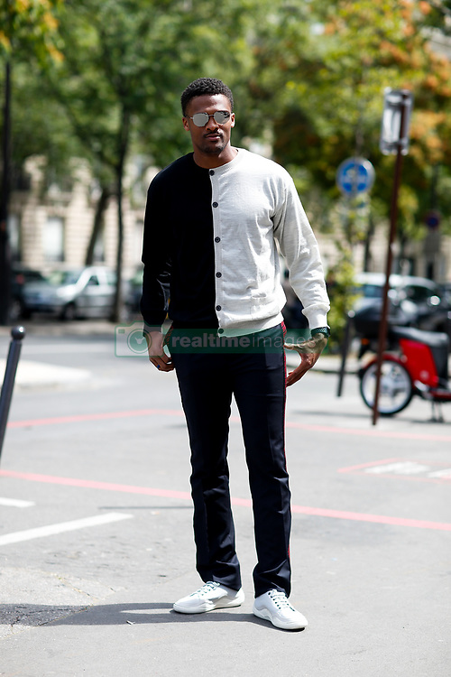Street style, Brice Butler arriving at Lanvin Spring-Summer 2019 menswear show held at Palais de Tokyo, in Paris, France, on June 24th, 2018. Photo by Marie-Paola Bertrand-Hillion/ABACAPRESS.COM