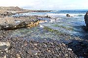 Small rocky cove at Caleta de Caballo, Lanzarote, Canary islands, Spain