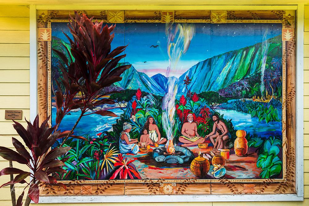 Hawaiian Heritage mural (by Margaret Stanton), Honokaa, Hamakua Coast, The Big Island, Hawaii USA