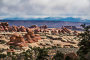 La Sal Mountains seen from Chesler Park trail in Needles District of Canyonlands NP, Monticello, Utah, USA.