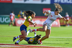 Caroline Crossley of Canada in action against Brazil<br /> <br /> Photographer Craig Thomas/Replay Images<br /> <br /> World Rugby HSBC World Sevens Series - Day 2 - Friday 6rd December 2019 - Sevens Stadium - Dubai<br /> <br /> World Copyright © Replay Images . All rights reserved. info@replayimages.co.uk - http://replayimages.co.uk