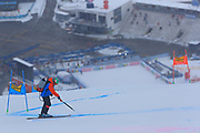 SOELDEN, AUSTRIA. OCTOBER 17 2020:  1st Women's Giant Slalom as part of the Alpine Ski World Cup in Solden on October 17, 2020; Run 1, Staff setting the slope in front of an empty tribune. ( Pierre Teyssot/ESPA Images-Image of Sport)
