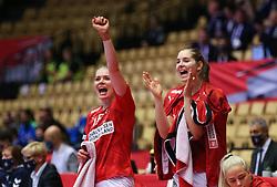 HERNING, DENMARK - DECEMBER 4: Kathrine Heindahl and Mette Tranborg during the EHF Euro 2020 Group A match between Denmark and Slovenia in Jyske Bank Boxen, Herning, Denmark on December 4, 2020. Photo Credit: Allan Jensen/EVENTMEDIA.