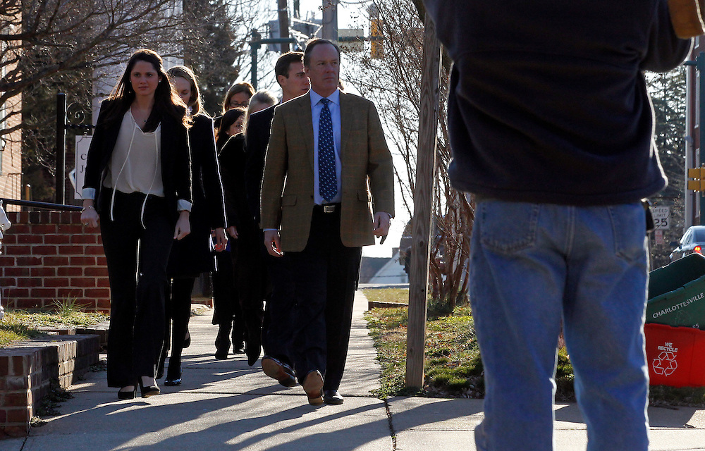 CHARLOTTESVILLE, VA - FEBRUARY 13: Friends and family of George Huguely walk to the Charlottesville Circuit courthouse for the George Huguely trial. Huguely was charged in the May 2010 death of his girlfriend Yeardley Love. She was a member of the Virginia women's lacrosse team. Huguely pleaded not guilty to first-degree murder. (Credit Image: © Andrew Shurtleff/
