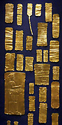 Gold plaque from the Oxus treasure. From Tadjikistan. A Mede involved in a religious ritual. This embossed ornament is part of the Oxus treasure, the most important collection of silver and gold to have survived from the Achaemenid period. The treasure is from a temple and dates mainly from the fifth and fourth centuries BC.
