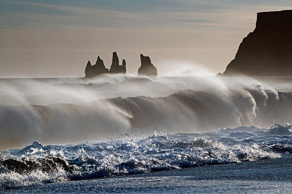 Storm waves build along Iceland's Southeast coast near Vik