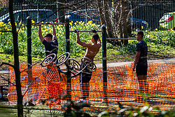 26 March 2020 - Edncliffe Park Sheffield. Third day of the emergency measures which were announced by Prime minister Boris Johnson on Monday evening (23rd march).<br /> A group of young men use the parks out door gym equipment despite it being clearly marked off as out of bounds  <br /> <br /> 26 March 2020<br /> <br /> www.pauldaviddrabble.co.uk<br /> All Images Copyright Paul David Drabble - <br /> All rights Reserved - <br /> Moral Rights Asserted -