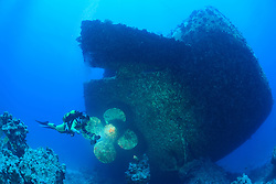 Schiffswrack der Salem Express und Taucher bei Schiffschraube, Rotes Meer, Safaga, Ägypten, Shipwreck Salem Express and Scuba Diver near Propeller or screw, Safaga, Red Sea, Egypt
