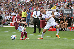 April 29, 2018 - Commerce City, Colorado - Orlando City SC forward Justin Meram (9) makes a head fake following a pass in the first half of action in the MLS soccer game between Orlando City SC and the Colorado Rapids at Dick's Sporting Goods Park in Commerce City, Colorado (Credit Image: © Carl Auer via ZUMA Wire)