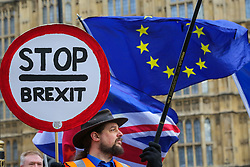 "© Licensed to London News Pictures. 09/01/2019. London, UK. An anti-Brexit protester holds a ""Stop Brexit"" sign  outside the Houses of Parliament on the first day of the Meaningful Vote debate. At the end of the five day debate the MPs will vote on Prime Minister, Theresa May's Brexit deal. Photo credit: Dinendra Haria/LNP"