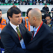Bursaspor's coach Ertugrul SAGLAM (L) and Kayserispor's coach Hakki Tolunay KAFKAS (R) during their Turkish soccer super league match Bursaspor between Kayserispor at Ataturk Stadium in Bursa Turkey on Saturday, 01 May 2010. Photo by TURKPIX