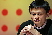 """CEO of Alibaba.com Jack Ma speaks at a launch ceremony in Beijing November 9, 2005. Alibaba.com Corporation, China's largest e-commerce company, announced today the re-launch of Yahoo! China, with a new home page and business model focused on search.  As part of the re-..launch, Yahoo! China's search brands, including Yisou.com, have been..consolidated and rebranded as """"Yahoo! Search""""..."""