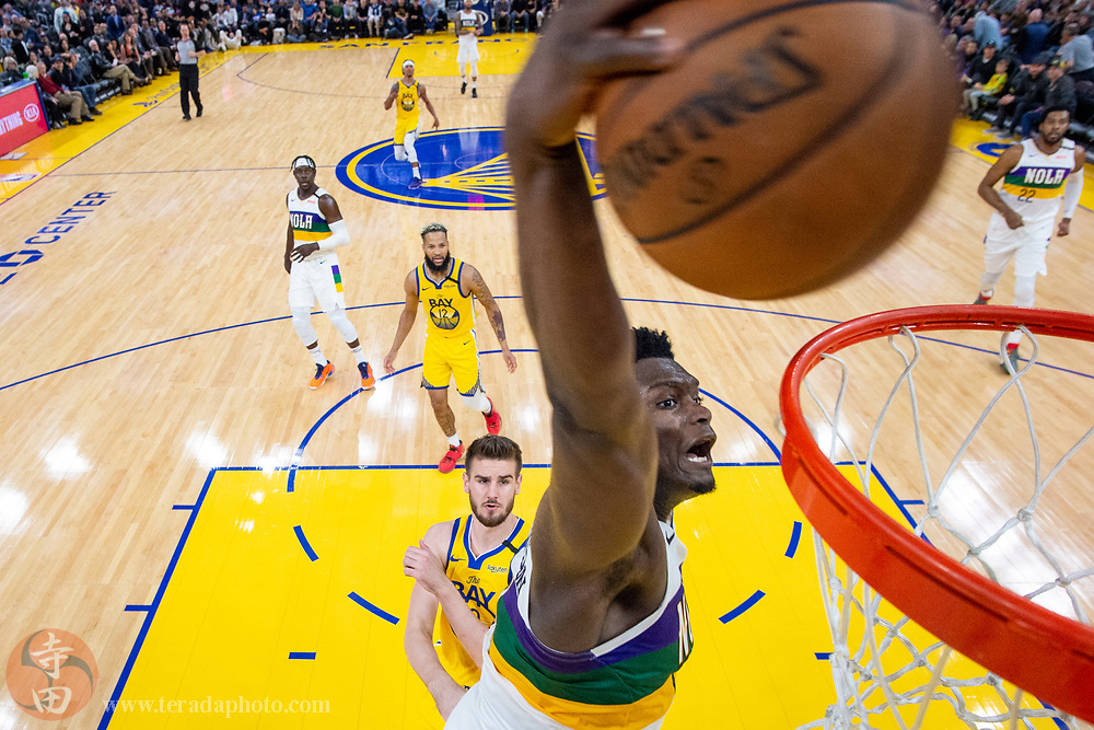 February 23, 2020; San Francisco, California, USA; New Orleans Pelicans forward Zion Williamson (1) dunks the basketball during the second half against the Golden State Warriors at Chase Center.