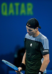 Tomas Berdych of Czech Republic reacts during his game against Roberto Bautista Agut of Spain at the Final of ATP Qatar Open Tennis match at the Khalif?a International Tennis Complex in Doha, capital of Qatar, on January 05, 2019. Roberto Bautista Agut claimed the title by defeating Tomas Berdych with 2-1. (Credit Image: © Yangyuanyong/Xinhua via ZUMA Wire)