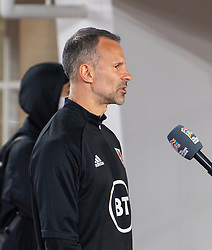 HELSINKI, FINLAND - Thursday, September 3, 2020: Wales' manager Ryan Giggs is interviewed after the UEFA Nations League Group Stage League B Group 4 match between Finland and Wales at the Helsingin Olympiastadion. Wales won 1-0. (Pic by Jussi Eskola/Propaganda)