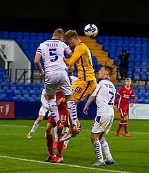 BIRKENHEAD, ENGLAND - Tuesday, September 29, 2020: Liverpool's goalkeeper Vitezslav Jaros challenges for a header with Tranmere Rovers' Mark Ellis during the EFL Trophy Northern Group D match between Tranmere Rovers FC and Liverpool FC Under-21's at Prenton Park. Tranmere Rovers won 3-2. (Pic by David Rawcliffe/Propaganda)