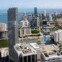 June, 2004 aerial view south over the financial district along Brickell Avenue, MIami, Florida.