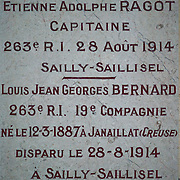 Wall engravings with the names of the dead at the Chapel of Remembrance (Chapelle des Souvenirs ) in Rancourt, Picardy build by the dy Bos family as a commemoration to their son Jean and his comrades who were killed there in September 1916. The National Cemetery of Rancourt is the largest French cemetery in Somme with 8566 graves.