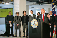 Governor Pat Quinn at the opening press conference for  Bio Tech space in the Merchandise Mart in Chicago