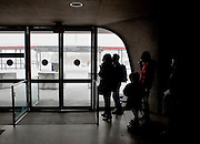 Feb 10,2010 - Chantilly, Va USA - Stranded passengers wait for ground transportation at Washington Dulles International Airport on Wednesday as fights were cancelled for 24 hours due to blizzard conditions. (Credit Image: ©Pete Marovich/ZUMA Press)