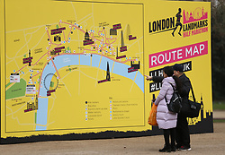 Spectators look at the Route Map during the 2018 London Landmarks Half Marathon. PRESS ASSOCIATION Photo. Picture date: Sunday March 25, 2018. Photo credit should read: Steven Paston/PA Wire