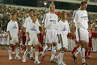 Fotball<br /> Real Madrid i Kina<br /> David Beckham gjør sin debut for Real Madrid<br /> Foto: Digitalsport<br /> <br /> China Dragon XI v Real Madrid at the Workers Stadium, Beijing, China. 02/08/2003.<br />David David Beckham walks out on his Real Madrid debut.