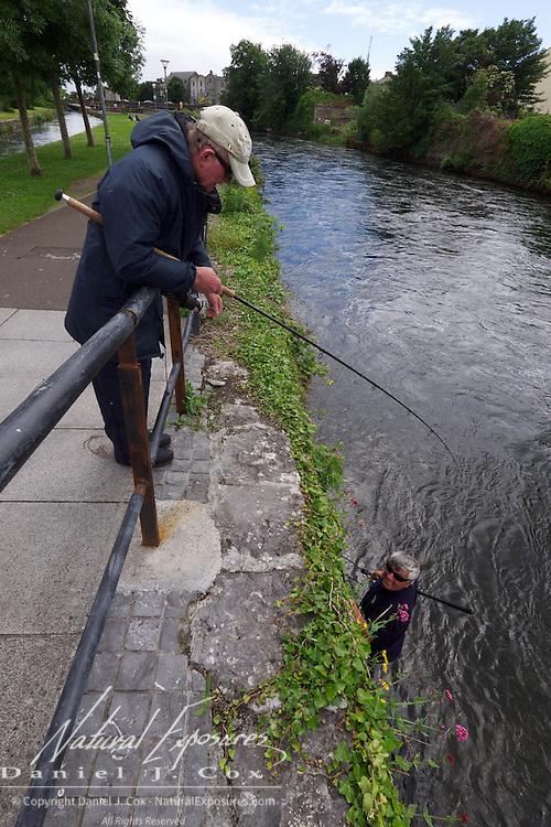 Salmon fisherman in the Corrib river, Galway, Ireland.