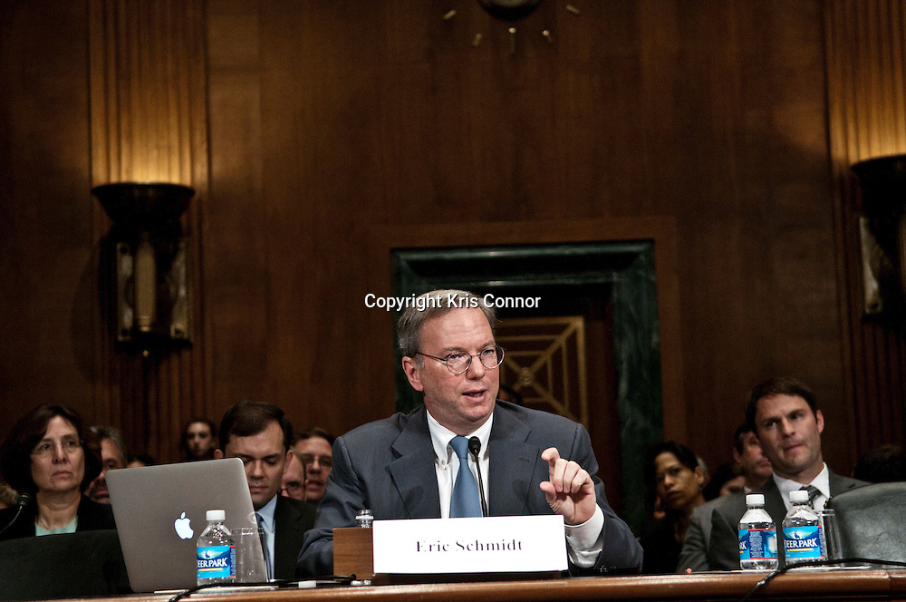 Google Executive Chairman Eric Schmidt testifies to the Senate Judiciary Committee's Antitrust, Competition Policy and Consumer Rights Subcommittee about if Google has a monopoly over its competitors on Capitol Hill September 21, 2011 in Washington, DC