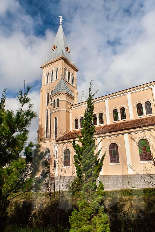 Bell tower architecture of Cock Church, Da Lat, Vietnam, Southeast Asia