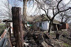 Homes in the suburbs of Debaltsevo show the signs of recent shelling and fighting that has left much of the city destroyed.