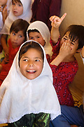 Balkh province Afghanistan. Children's centre. Girls studying.