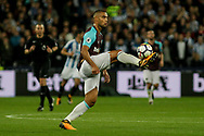 Winston Reid of West Ham United controls the ball on his foot. Premier league match, West Ham Utd v Huddersfield Town at the London Stadium, Queen Elizabeth Olympic Park in London on Monday 11th September 2017.<br /> pic by Kieran Clarke, Andrew Orchard sports photography.