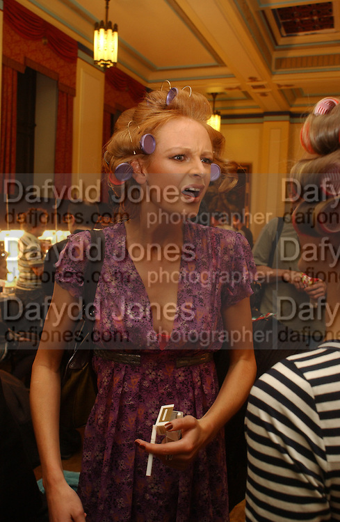Olivia Inge, Backstage before the Julian Macdonald fashion show. Gt. Queen St. WC2. 14 February 2006. ONE TIME USE ONLY - DO NOT ARCHIVE  © Copyright Photograph by Dafydd Jones 66 Stockwell Park Rd. London SW9 0DA Tel 020 7733 0108 www.dafjones.com