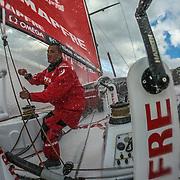 Leg 3, Cape Town to Melbourne, day 02,  Blair Tuke on board MAPFRE. Photo by Jen Edney/Volvo Ocean Race. 11 December, 2017.