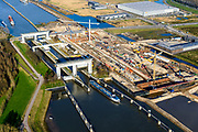 Nederland, Utrecht, Nieuwegein, 07-02-2018; Prinses Beatrixsluizen. Het sluizencomplex in het Lekkanaal wordt uitgebreid met een derde kolk.<br /> Princess Beatrix locks. The lock complex in the Lek Canal will be expanded with a third chamber.<br /> <br /> luchtfoto (toeslag op standard tarieven);<br /> aerial photo (additional fee required);<br /> copyright foto/photo Siebe Swart