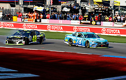 September 30, 2018 - Charlotte, NC, U.S. - CHARLOTTE, NC - SEPTEMBER 30: #78: Martin Truex Jr., Furniture Row Racing, Toyota Camry Auto-Owners Insurance #48: Jimmie Johnson, Hendrick Motorsports, Chevrolet Camaro Lowe's for Pros during the running of the Inagural Bank of America ROVAL 400 on Sunday September 30, 2018 at Charlotte Motor Speedway in Concord North Carolina  (Photo by Jeff Robinson/Icon Sportswire) (Credit Image: © Jeff Robinson/Icon SMI via ZUMA Press)