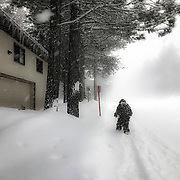 A late winter storm blows into Mammoth Lakes, CA in mid March dropping a few feet of snow on the town.