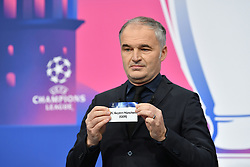 NYON, SWITZERLAND - Monday, December 14, 2020: Special guest Stéphane Chapuisat draws out Bayern Munich during the UEFA Champions League 2020/21 Round of 16 draw at the UEFA Headquarters, the House of European Football. (Photo Handout/UEFA)