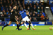 Oumar Niasse of Everton (c) passes the ball while under pressure. Premier league match, Everton v Leicester City at Goodison Park in Liverpool, Merseyside on Wednesday 31st January 2018.<br /> pic by Chris Stading, Andrew Orchard sports photography.