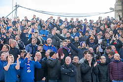 Rangers fans during the William Hill Scottish Cup quarter final match at Pittodrie Stadium, Aberdeen.