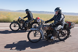 Utahns Kyle Rose (L) and Rick Salisbury of Utah ride their 1916 Excelsiors during the Motorcycle Cannonball Race of the Century. Stage-13 ride from Williams, AZ to Lake Havasu CIty, AZ. USA. Friday September 23, 2016. Photography ©2016 Michael Lichter.
