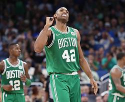 November 5, 2017 - Orlando, FL, USA - Boston Celtics forward Al Horford celebrates late in the game against the Orlando Magic on Sunday, Nov. 5, 2017 at the Amway Center in Orlando, Fla. Boston won the game, 104-88. (Credit Image: © Stephen M. Dowell/TNS via ZUMA Wire)