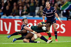 Lwazi Mvovo of South Africa reaches for the try-line in the final play of the match - Mandatory byline: Patrick Khachfe/JMP - 07966 386802 - 07/10/2015 - RUGBY UNION - The Stadium, Queen Elizabeth Olympic Park - London, England - South Africa v USA - Rugby World Cup 2015 Pool B.