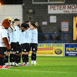 TELFORD COPYRIGHT MIKE SHERIDAN AFC Telford players observe a minute's silence for Alfreton player Jordan Sinnott during the Vanarama Conference North fixture between AFC Telford United and Blyth Spartans at The New Bucks Head on Tuesday, January 28, 2020.<br /> <br /> Picture credit: Mike Sheridan/Ultrapress<br /> <br /> MS201920-043