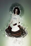 Digitally enhanced image of an Egyptian Beladi style Belly dancer