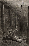 The Penitent, or Fireman. This was the miner who, swathed in damp sacking, undertook the task of igniting pockets of  which, the inflammable gas Methane, called Fire-damp which, if allowed to build up, could cause disastrous explosions in coal mines.   From 'Le Voleur' (Paris, 30 March 1877). Engraving.