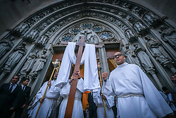 April 14, 2017 - Sao Paulo, Brazil - Faithful process a remembrance of the burial of Jesus (procession of the dead lord) on this Good Friday in the Cathedral of the See (Credit Image: © Dario Oliveira via ZUMA Wire)