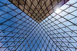 THEMENBILD - Blick von Innen auf das Dach der Glaspyramide des Louvre, aufgenommen am 09. Juni 2016 in Paris, Frankreich // View from inside to the roof of the glass pyramid of the Louvre, Paris, France on 2016/06/09. EXPA Pictures © 2017, PhotoCredit: EXPA/ JFK