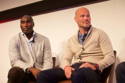 NEWPORT, WALES - Friday, May 20, 2016: Sol Campbell and Fredrik Ljungberg during the Football Association of Wales' National Coaches Conference 2016 at the Celtic Manor Resort. (Pic by David Rawcliffe/Propaganda)