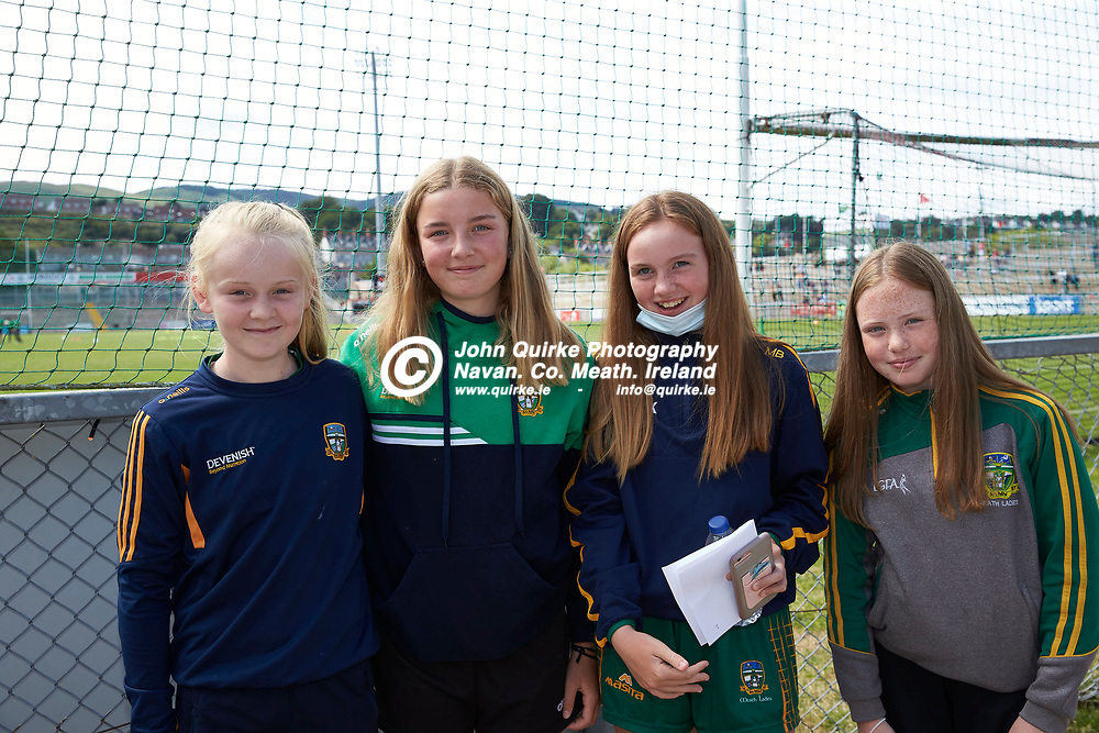 2021-7-10, 2020 All Ireland MFC Semi-Final at Pairc Esler, Newry.<br /> Meath v Derry<br /> Meath supporters at the game, Aoife Barry, Sarah McCarthy, Ali Browne, Nicole Clarke<br /> Photo: David Mullen / www.quirke.ie ©John Quirke Photography, Proudstown Road Navan. Co. Meath. 046-9079044 / 087-2579454.<br /> ISO: 200; Shutter: 1/250; Aperture: 8;